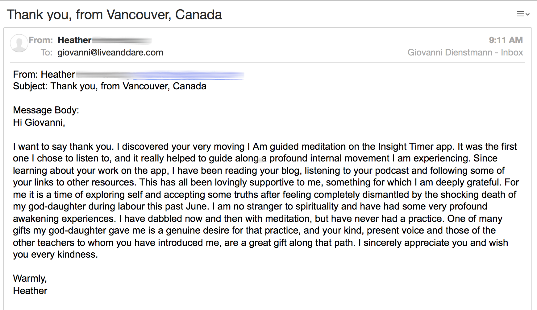 Guided Meditation testimonial 2
