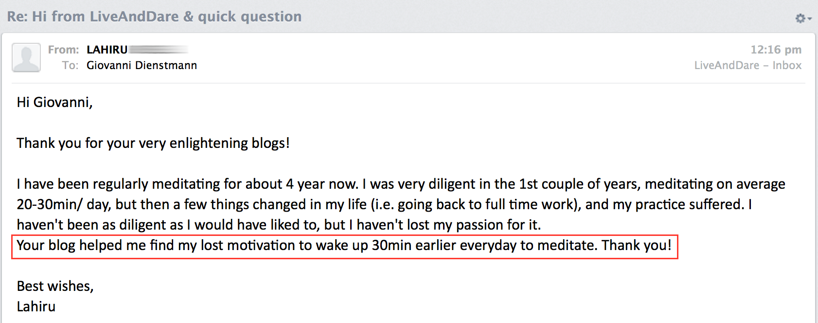 LiveAndDare blog testimonial 6